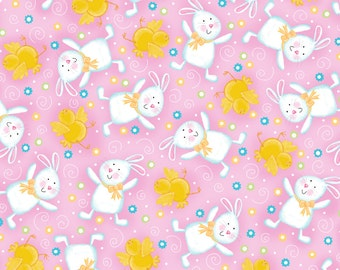 A Joyful Easter Bunnnies and Chicks Pink Fabric From Quilting Treasures