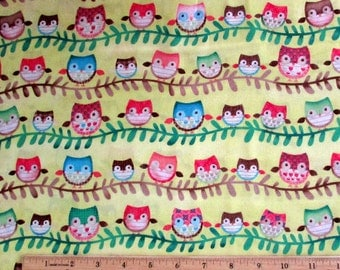 Friendly Forest Owls Yellow Fabric From Spectrix