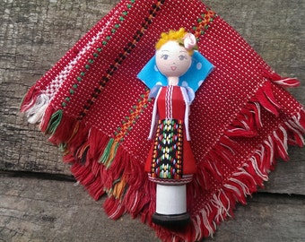 Vintage Wooden Doll, Traditional Bulgarian Doll with Perfume Bottle from 1980s, Beautiful Souvenir, Traditional Bulgarian Folk Art