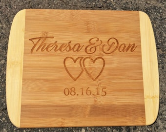 Two hearts,Engraved Cutting Board,Personalized Cutting Board,Shower Gift,Wedding Gift,Anniversary Gifts,Housewarming Gift,Laser Engraved