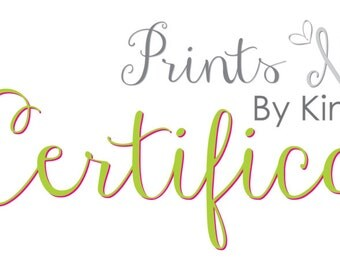 Prints 'N Graphics By Kim Basic Gift Certificate Gift Card Gift Of Choice