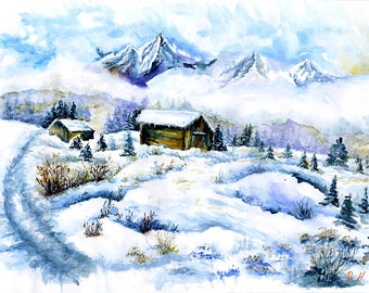 Original watercolor Snow field