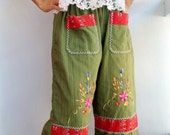 Baggy Pants Shorts Capris Embroidered Hill Tribe Fantasy Floral Flower Cotton Green