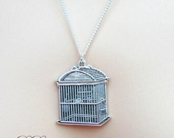 Silver Birdcage Necklace, Silver birdcage Pendent, Silver Charm Necklace, Silver Necklace, Gifts for her