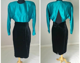 80s St. Gillians Silks Teal Silk and Black Velvet Party Dress with Open Back and Bow || Vintage Size 8