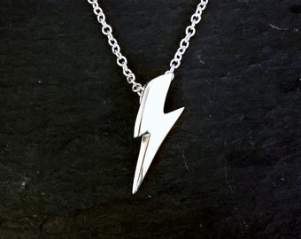 Solid Sterling Silver David Bowie Ziggy Stardust Mini Lightning Bolt Pendant Aladdin Sane