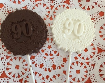 "Number ""90"" Chocolate Lollipops(12 qty) - 90th Birthday Party/90th Celebration/Number 90 Party Favor/90 Years Favor"
