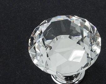 Crystal and Chrome Cabinet Handles Dresser Knobs Set of 10!