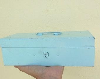 Small Vintage Metal Tool Box, No Key, Painted Pale Blue