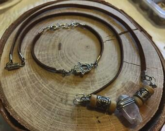 Hamsa Hand Charm Leather Bracelet