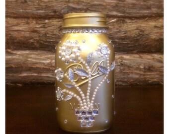 Gold Mason Jar, Gold Wedding Mason Jar, Gold Wedding Centerpiece, Golden Anniversary decor, 50th Anniversary Gift, Rustic Mason Jar wedding