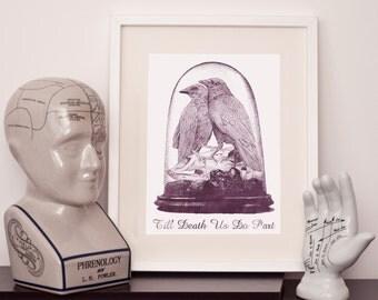 Taxidermy 'Till death us do part' -  art print - various sizes