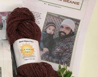 Yarn Kit for 'Simply Spring Beanie Hat' with Burgundy Yarn