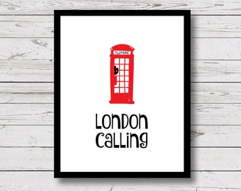 London Calling, London Printable, London Wall Art, Red Phone Box, black and white prints, red phone booth, Instant Download, 8x10, 5x7