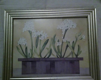 Framed 1996 Signed print by Julie berg called Paperwhite 1 of 50