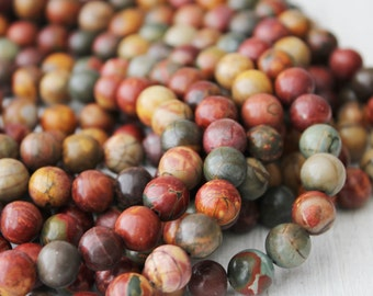 Picasso Jasper 10mm round gemstone beads rainbow gemstone full strand jewelry supply