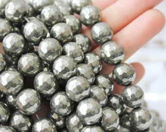 10mm Faceted Silver Pyrite Beads Full Strand Rustic Beads Fools Gold