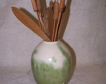 Vase of Cattails, pottery vase with wooden cattails