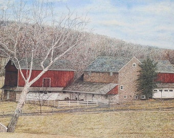 Barn Painting - Lithograph Print - Landscape Painting - Farm Print - Nature Print - Fine Art Painting - Realism Painting - Fall Painting