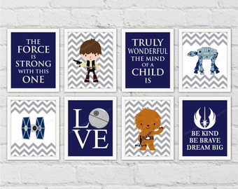 Star Wars Boy Nursery Decor. Baby Jedi Decor. The Force Is Strong With This One. Gray Navy Boys Room Decor. Set of 8 Prints. Item No.: 178
