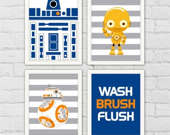 ATAT BB8 R2D2 Star Wars Bathroom Nursery Decor. Children Bath Decor Art  Print. Bathroom