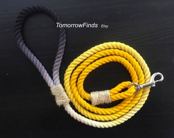 Yellow & Black Cotton Rope Leash- Ombre