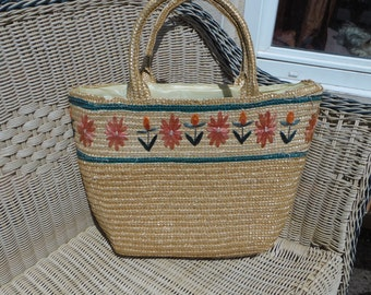 Basket for markets; straw Tote; France 70
