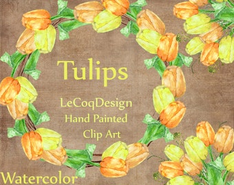"Tulips flowers clipart: ""FLORAL CLIPART"" wedding wreath clipart spring floral invitation clipart yellow watercolor flowers spring clip art"