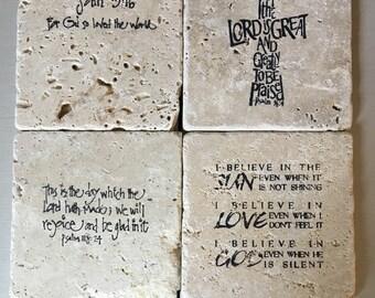 Biblical stone coaster set