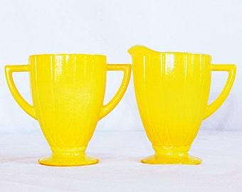 Vintage yellow colored glass, cream pitcher, creamer and sugar bowl set, Hazel Atlas