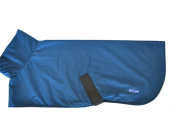 Greyhound Raincoat - Blue Waterproof Fabric and Orange Polar Fleece Lining