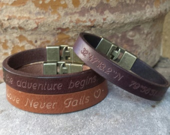 FREE SHIPPING-Men Bracelet,Men Leather Bracelet,Men Personalized Bracelet,Custom Leather Bracelet,Bracelets For Men, Cuff Engrave Bracelet