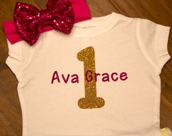 First Birthday Shirt, Personalized First Birthday Shirt, One Birthday, First Birthday, Girls First Birthday,