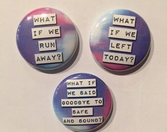 Set of 3 - 1 Inch Pinback Buttons Youth Pins, Magnets OR Zipper Pulls