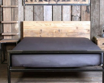 Vintage Industrial Metal Frame Bed (HANDMADE UK)