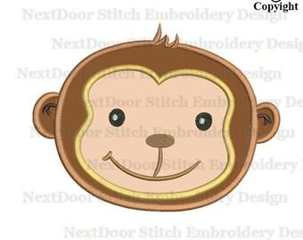 Monkey applique, monkey face machine embroidery applique design, mk-010