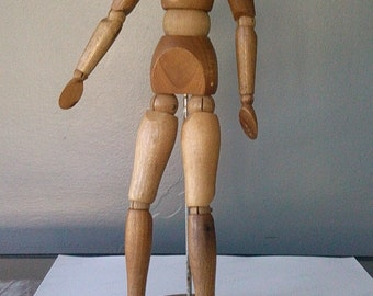 Morilla vintage posable wooden fully articulated drawing manequinn figure