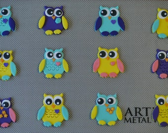 12 Owl Fondant Cupcake Toppers-Customize your colors