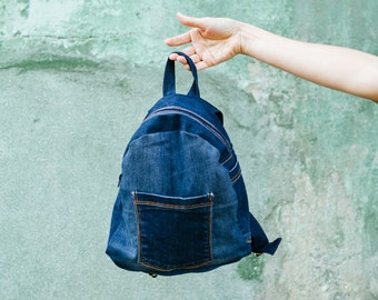 Up-cycled Dark Blue Denim Backpack / Upcycled Jeans / Kids Toddler Backpack