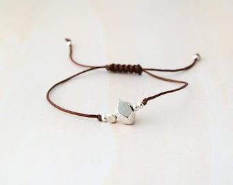 Minimal bracelet, geometric silver bracelet, geometric beads bracelet, geometric silver beads bracelet, geometric jewelry, wedding favors
