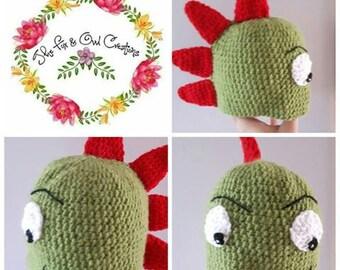 Green & Red Dinosaur Hat:Dinosaur-Derek the Dinosaur-Red and Green-Red Spikes-Green Hat-Eyes-Mouth-Mischievous-Child-Adults-From Eight Pound