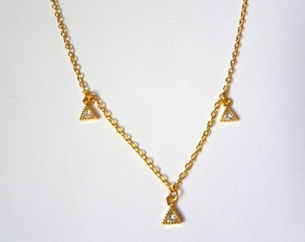 Boho Dainty Gold Three Triangle Droplet Necklace