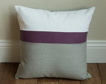 Linen Throw Pillow 16x16 Color Block gray, plum and white linen throw pillow cover