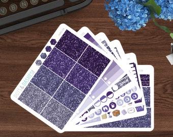 Glitter full weekly kit, vertical layout  kit, planner sticker set, planner sticker kit, purple stickers, glitter stickers-FKPG