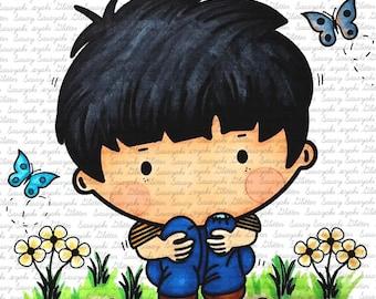 Lonely Boy Digital Stamp By Sasayaki Glitter line art only