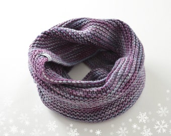 Snood blue purple knitted pure Merino hand