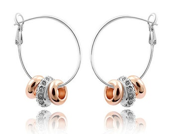 Gold And Silver Beaded Hoop Earrings With Austrian Crystals
