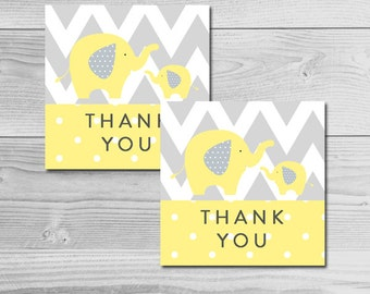 Yellow and Gray Elephant Baby Shower - Thank You Tags - Instant Download Printable - Gender Neutral