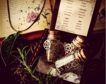 Witches box with herbs