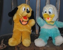 Vintage Walt Disney 1960's 11 inch Donald Duck and Pluto Rubber Face Plush Toys
